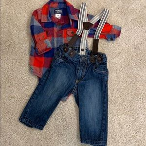 H&M Jeans with Suspenders😅 Oshkosh Flannel